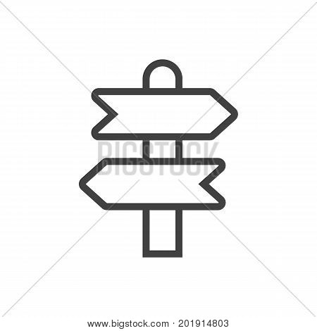 Vector Direction   Element In Trendy Style.  Isolated Signpost Outline Symbol On Clean Background.