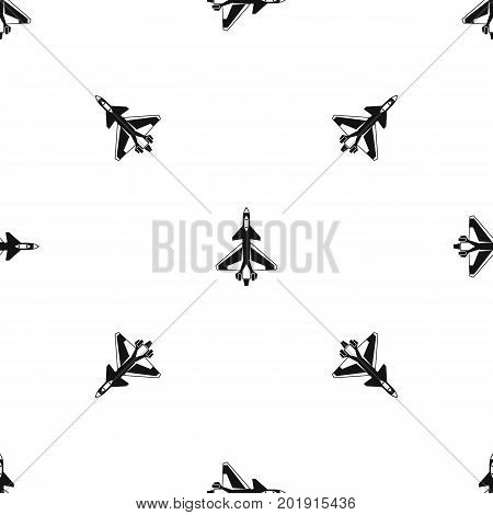 Military fighter jet pattern repeat seamless in black color for any design. Vector geometric illustration