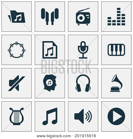 Audio Icons Set. Collection Of Timbrel, Meloman, Silence And Other Elements