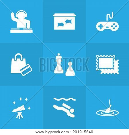 Collection Of Rod, Fish, Checkmate And Other Elements.  Set Of 9 Lifestyle Icons Set.