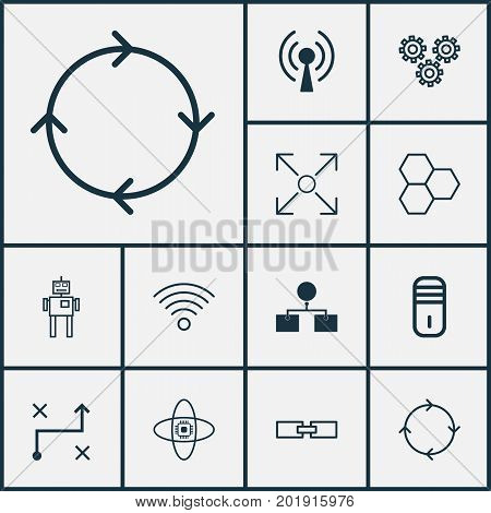 Learning Icons Set. Collection Of Branching Program, Information Components, Radio Waves And Other Elements