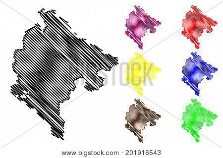 Montenegro map vector illustration , scribble sketch Montenegro