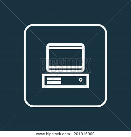 Premium Quality Isolated PC  Element In Trendy Style.  Computer Outline Symbol.