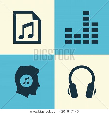 Multimedia Icons Set. Collection Of Earphone, File, Meloman And Other Elements