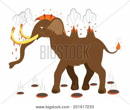 The brown mammoth a volcano throws up a lava