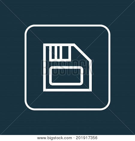 Premium Quality Isolated Floppy  Element In Trendy Style.  Diskette Outline Symbol.