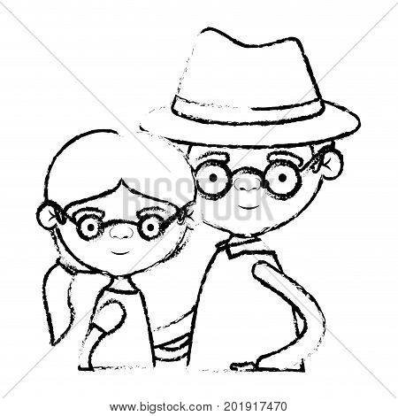 blurred silhouette of half body couple elderly of grandmother with ponytail side hair with grandfather with hat and glasses vector illustration