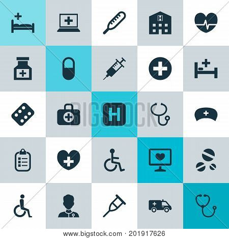 Medicine Icons Set. Collection Of Database, Device, Polyclinic And Other Elements