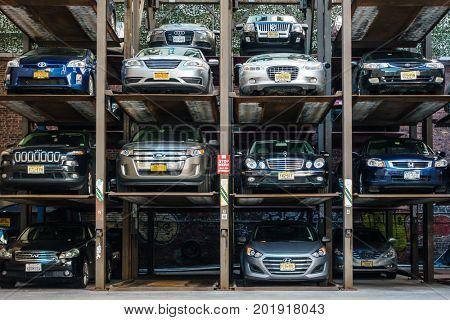 NEW YORK CITY, USA - CIRCA AUGUST 2015: Automated multi-storey car park in New York.