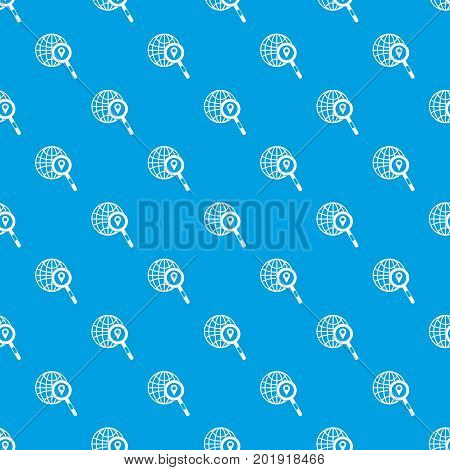 Globe, map pointer and magnifying glass pattern repeat seamless in blue color for any design. Vector geometric illustration