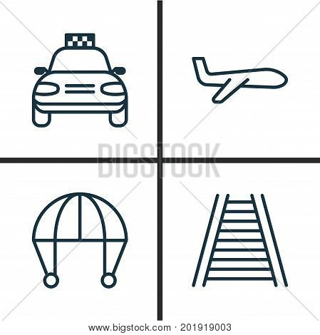 Transportation Icons Set. Collection Of Air Transport, Car Vehicle, Railroad And Other Elements