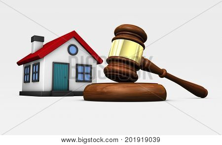 Property auction laws and legislation concept with a judge gavel and house model 3D illustration.
