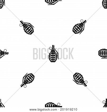 Hand grenade, bomb explosion pattern repeat seamless in black color for any design. Vector geometric illustration
