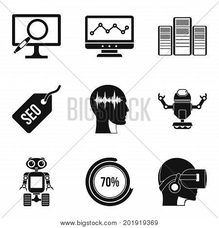 Numerator icons set. Simple set of 9 numerator vector icons for web isolated on white background