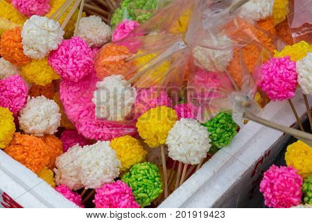 Colorful Rice cracker or puffed rice thai dessert in Sart Day Festival
