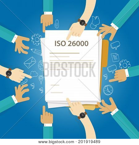 ISO 26000 social responsibility standards business compliance to international organization hand audit check document vector