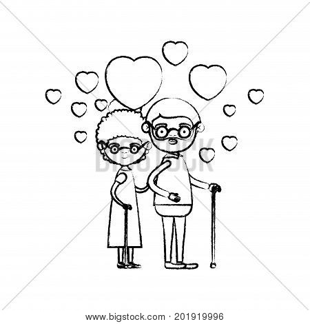 blurred silhouette of caricature full body elderly couple embraced with floating hearts grandfather in walking stick and grandmother with collected hair vector illustration