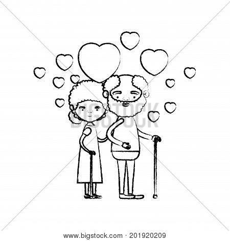 blurred silhouette of caricature full body elderly couple embraced with floating hearts bearded grandfather in walking stick and grandmother with bun hair vector illustration