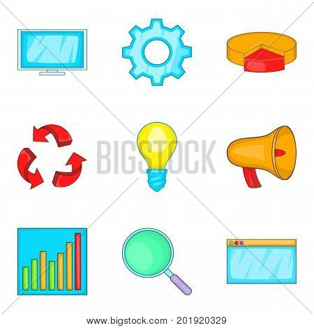 Clear data icons set. Cartoon set of 9 clear data vector icons for web isolated on white background