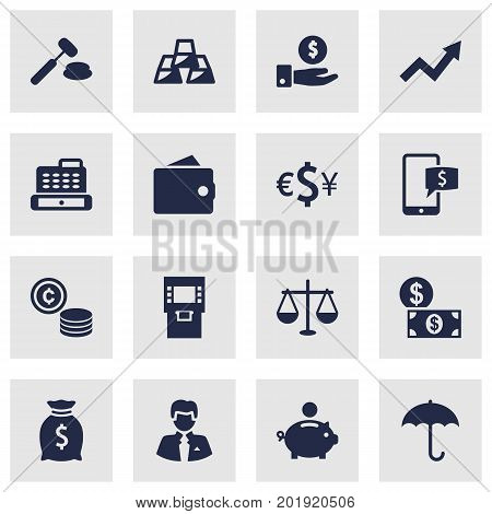 Collection Of Worker, Cash, Online Banking And Other Elements.  Set Of 16 Budget Icons Set.