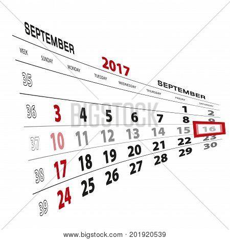 September 16, Highlighted On 2017 Calendar. Week Starts From Sunday.
