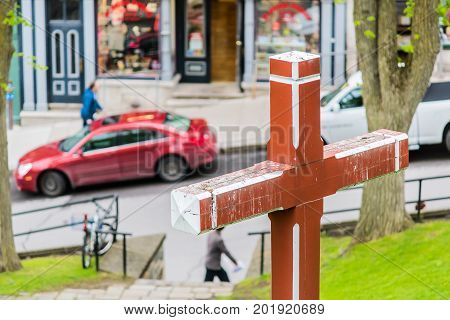 Quebec City, Canada - May 30, 2017: Montmorency Park National Historic Site With Red Cross In Green
