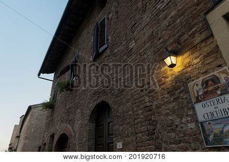 Certaldo Firenze Italy - july 26 2017; signboard of Typical Tuscan tavern