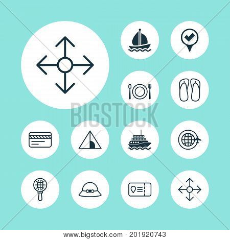 Tourism Icons Set. Collection Of Direction Arrows, Globe Search, Bank Card And Other Elements