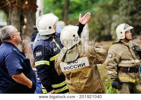 Orel Russia August 29 2017: Collapse of old apartment house. EMERCOM team at work selective focus