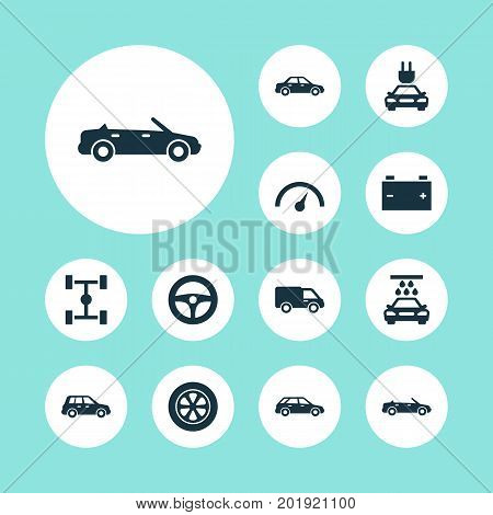 Automobile Icons Set. Collection Of Hatchback, Drive Control, Car And Other Elements