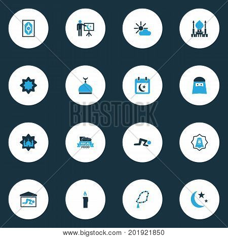 Holiday Colorful Icons Set. Collection Of Food, Arabian, Nacht And Other Elements