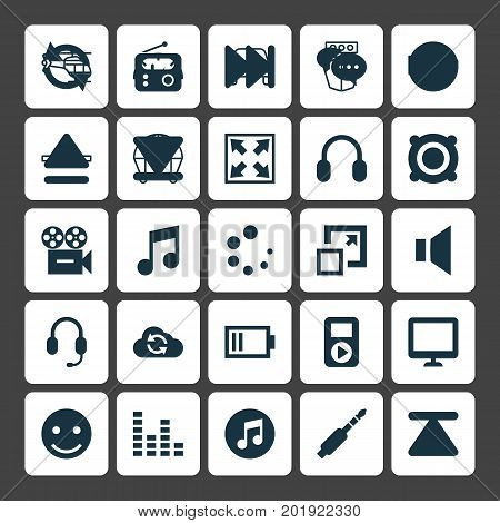 Multimedia Icons Set. Collection Of Silence, Circle, Amplifier And Other Elements