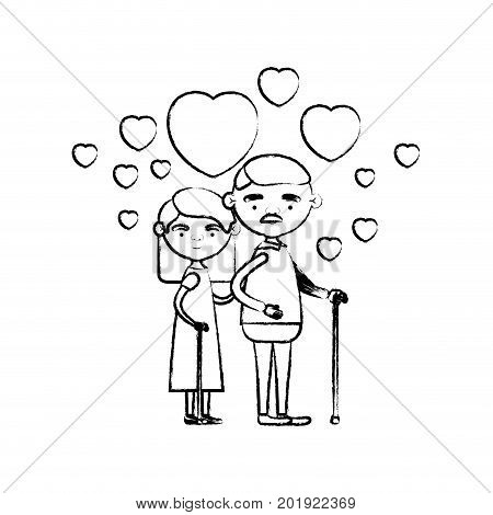 blurred silhouette of caricature full body elderly couple embraced with floating hearts grandfather with moustache in walking stick and grandmother with straight hair vector illustration