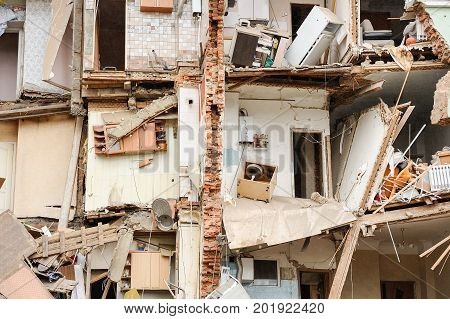 Orel Russia August 29 2017: Collapse of old apartment house. Ruines of old inhabited block of flats horizontal