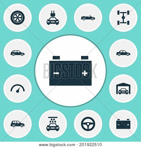 Automobile Icons Set. Collection Of Chronometer, Automobile, Plug And Other Elements