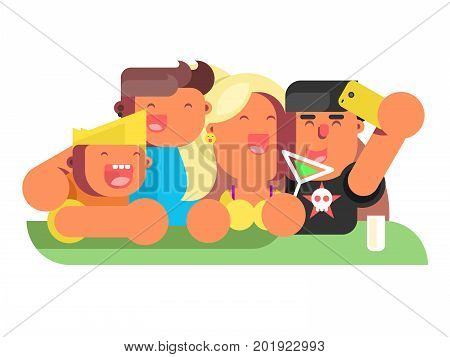 Group friends in nightclub. Party nightlife and people on disco happy clubbing event, vector illustration
