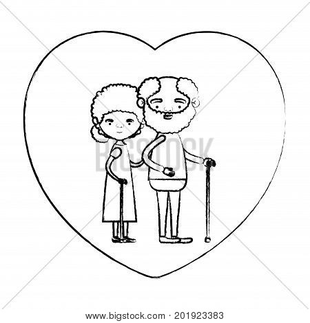 blurred silhouette of heart shape greeting card with caricature full body elderly couple embraced bearded grandfather in walking stick and grandmother with curly collected hair vector illustration