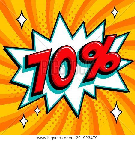 Orange sale web banner. Pop art comic sale discount promotion banner. Big sale background. Sale 70 off on a Comics pop-art style bang shape on orange twisted background. Seasonal discounts, Black Friday, the interest rate, etc. Vector illustration