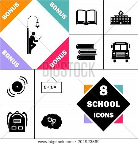 Man reading Icon and Set Perfect Back to School pictogram. Contains such Icons as Schoolbook, School  Building, School Bus, Textbooks, Bell, Blackboard, Student Backpack, Brain Learn