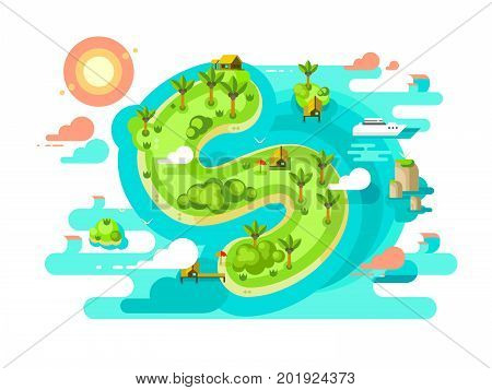 Island paradise nature offshore design. Beach in sea with finance tax free, fraud with income. Vector illustration