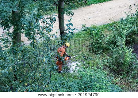 Worker In Uniform With Chainsaw