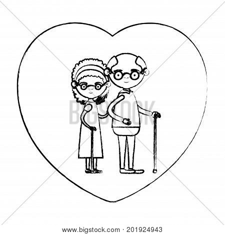 blurred silhouette of heart shape greeting card with caricature full body elderly couple embraced grandfather with glasses in walking stick and grandmother with bow lace and curly hair vector illustration