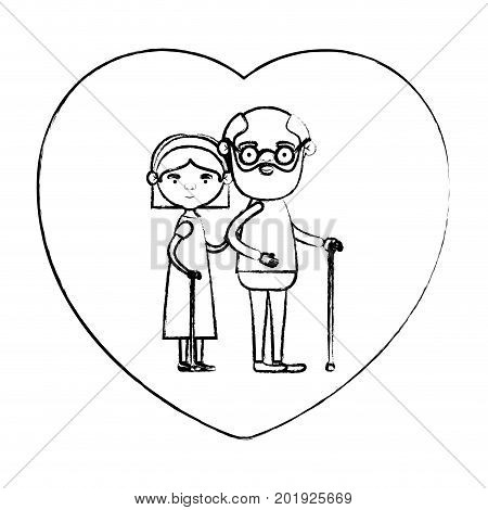 blurred silhouette of heart shape greeting card with caricature full body elderly couple embraced grandfather in walking stick and grandmother with bow lace and straight hair vector illustration