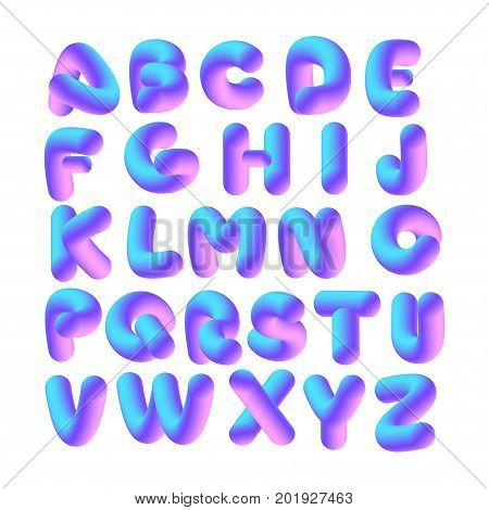 Soft flexible neon 3D alphabet on a white background. Vector isolated letters.