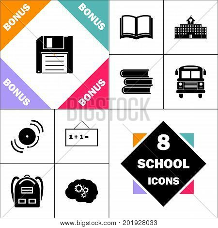 Floppy disk Icon and Set Perfect Back to School pictogram. Contains such Icons as Schoolbook, School  Building, School Bus, Textbooks, Bell, Blackboard, Student Backpack, Brain Learn