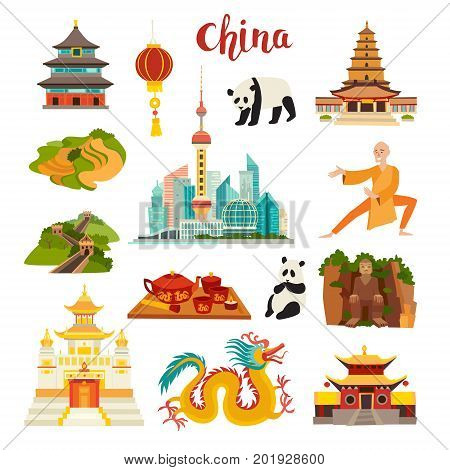 China landmarks vector icons set. Illustrated Shanghai cityscape Temple chinese dragon panda and Buddha Shaolin and teaisolated on white background