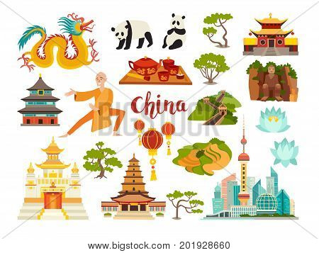 China landmarks vector icons collection. Chinese travel attraction. China landmarks: Shanghai cityscape Temple and dragon. Shaolin monk pandas and rice fields