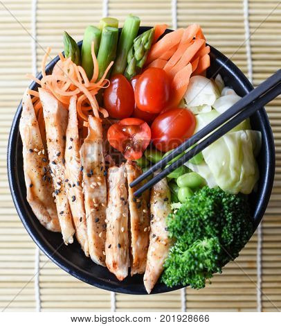 Healthy Japanese Traditional Chicken Teriyaki with vegetables