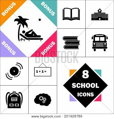 beach Icon and Set Perfect Back to School pictogram. Contains such Icons as Schoolbook, School  Building, School Bus, Textbooks, Bell, Blackboard, Student Backpack, Brain Learn