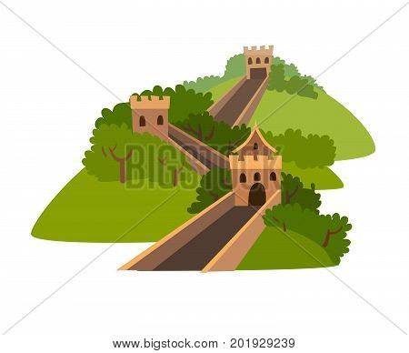 Greatwall vector icon. Chinese abstract landscape. Travel landmark isolated on white background. Flat cartoon vector illustration